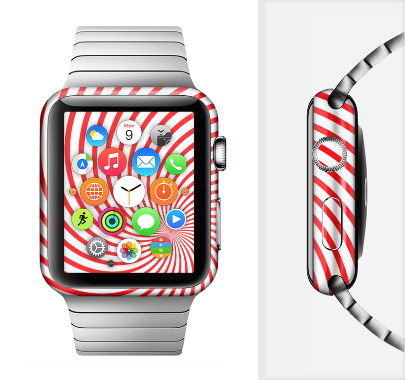 The Red & White Hypnotic Swirl Full-Body Skin Set for the Apple Watch