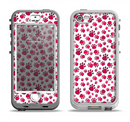 The Red & White Paw Prints Apple iPhone 5-5s LifeProof Nuud Case Skin Set