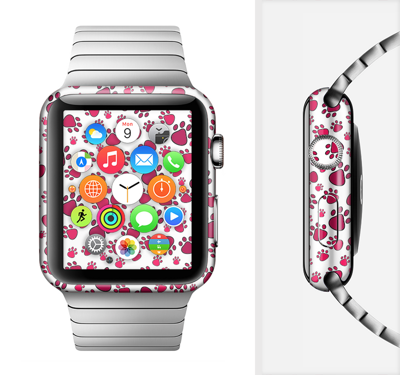 The Red & White Paw Prints Full-Body Skin Set for the Apple Watch