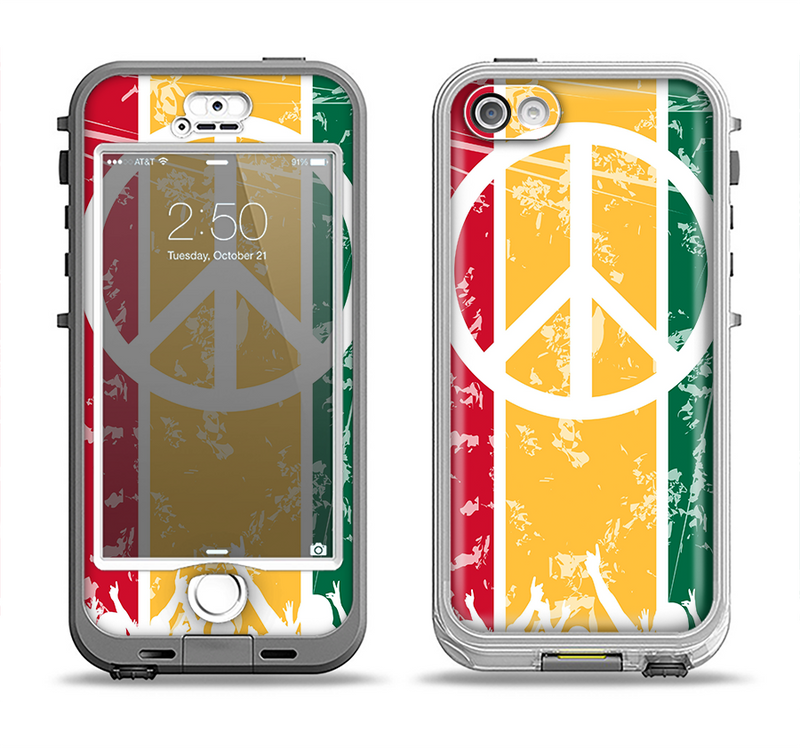 The Red, Yellow & Green Layered Peace Apple iPhone 5-5s LifeProof Nuud Case Skin Set