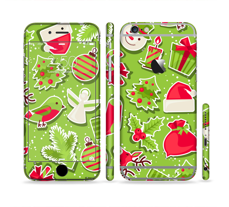 The Red and Green Christmas Icons Sectioned Skin Series for the Apple iPhone 6/6s Plus