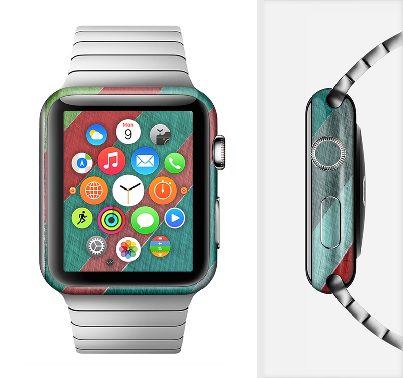 The Red and Green Diagonal Stripes Full-Body Skin Set for the Apple Watch