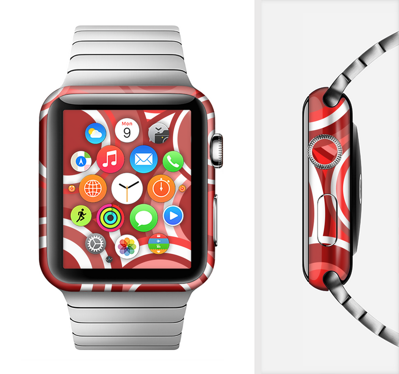 The Red and White Layered Vector Circles Full-Body Skin Set for the Apple Watch