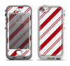 The Red and White Slanted Vector Stripes Apple iPhone 5-5s LifeProof Nuud Case Skin Set