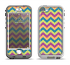 The Retro Colored Green & Purple Chevron Pattern Apple iPhone 5-5s LifeProof Nuud Case Skin Set