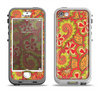 The Retro Red and Green Floral Pattern Apple iPhone 5-5s LifeProof Nuud Case Skin Set