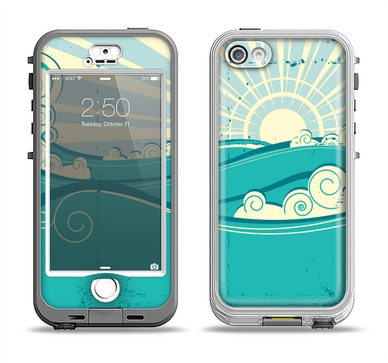 The Retro Vintage Vector Waves Apple iPhone 5-5s LifeProof Nuud Case Skin Set