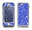 The Royal Blue & White Floral Sprout Apple iPhone 5-5s LifeProof Nuud Case Skin Set