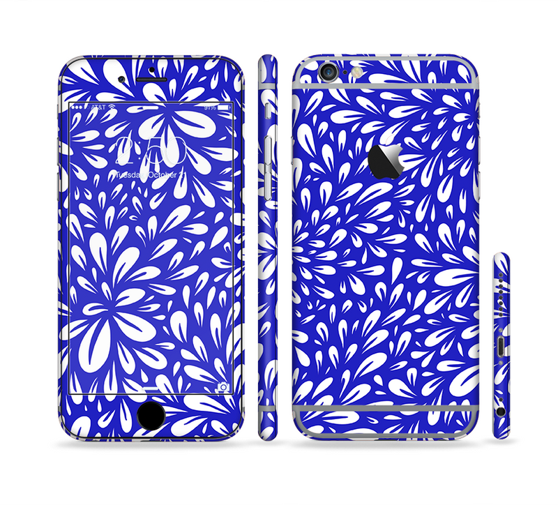 The Royal Blue & White Floral Sprout Sectioned Skin Series for the Apple iPhone 6/6s Plus