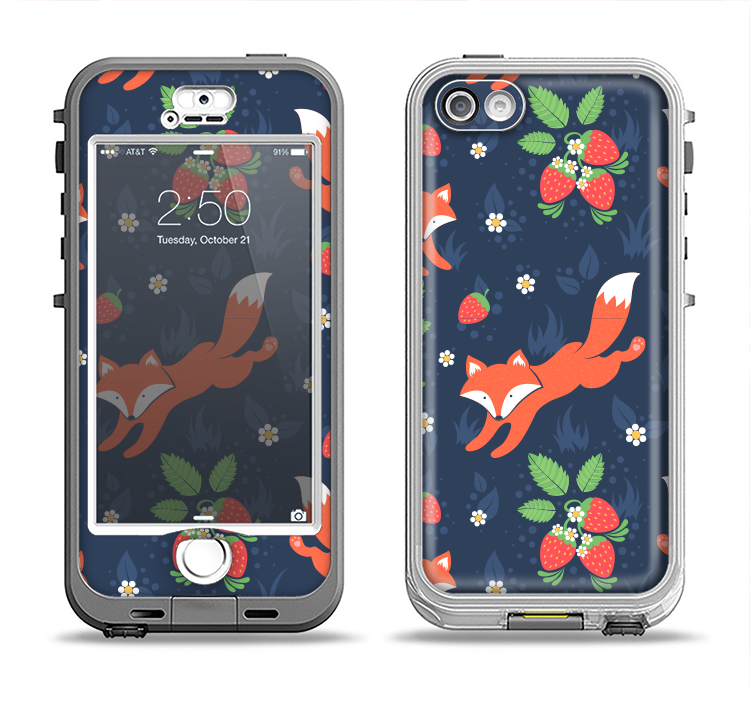 The Running Orange & Navy Vector Fox Pattern Apple iPhone 5-5s LifeProof Nuud Case Skin Set