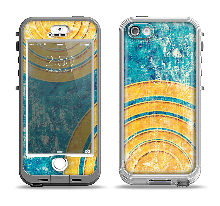 The Scratched Blue and Gold Surface Apple iPhone 5-5s LifeProof Nuud Case Skin Set