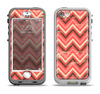 The Scratched Coral & Brown Layered Chevron V2 Apple iPhone 5-5s LifeProof Nuud Case Skin Set