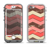 The Scratched Coral & Brown Layered Chevron V4 Apple iPhone 5-5s LifeProof Nuud Case Skin Set