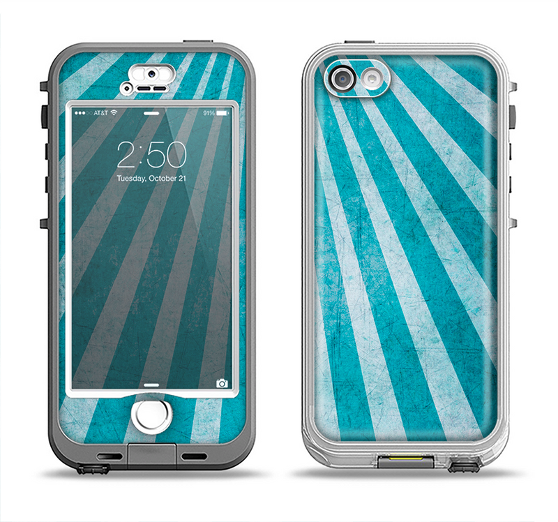 The Scratched Striped Blue Rays Apple iPhone 5-5s LifeProof Nuud Case Skin Set