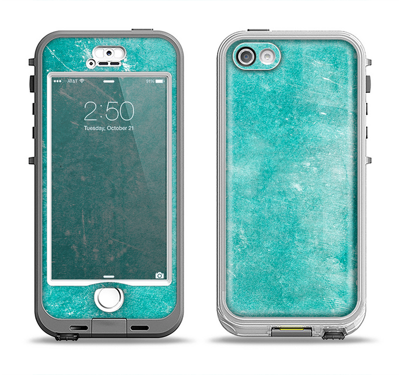 The Scratched Turquoise Surface Apple iPhone 5-5s LifeProof Nuud Case Skin Set