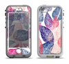 The Seamless Pink & Blue Color Leaves Apple iPhone 5-5s LifeProof Nuud Case Skin Set