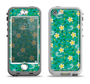 The Shades of Green Vector Flower-Bed Apple iPhone 5-5s LifeProof Nuud Case Skin Set