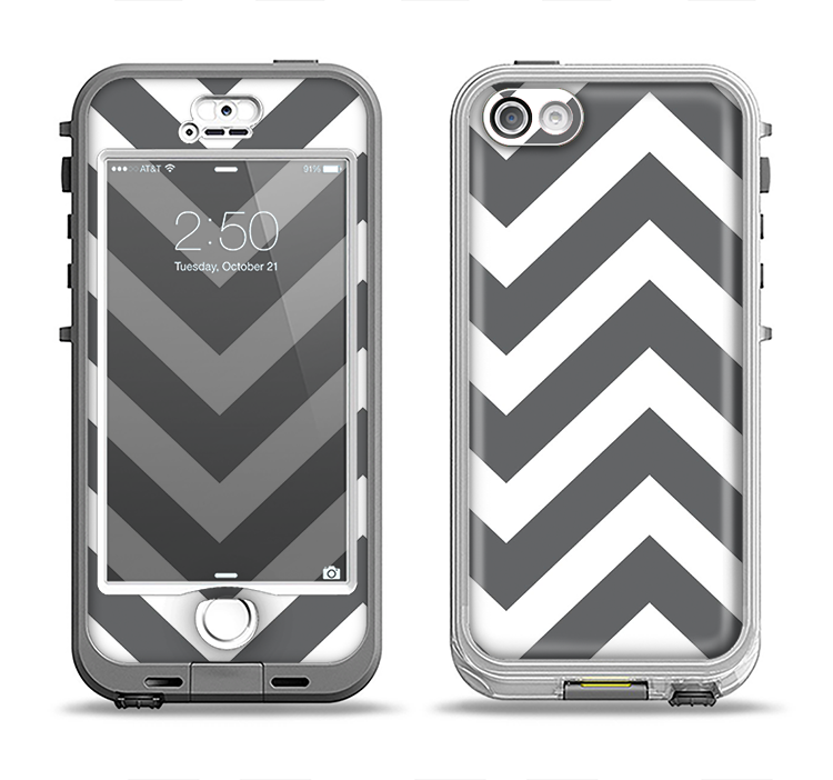 The Sharp Gray & White Chevron Pattern Apple iPhone 5-5s LifeProof Nuud Case Skin Set