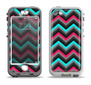 The Sharp Pink & Teal Chevron Pattern Apple iPhone 5-5s LifeProof Nuud Case Skin Set