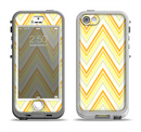 The Sharp Vintage Yellow Chevron Apple iPhone 5-5s LifeProof Nuud Case Skin Set