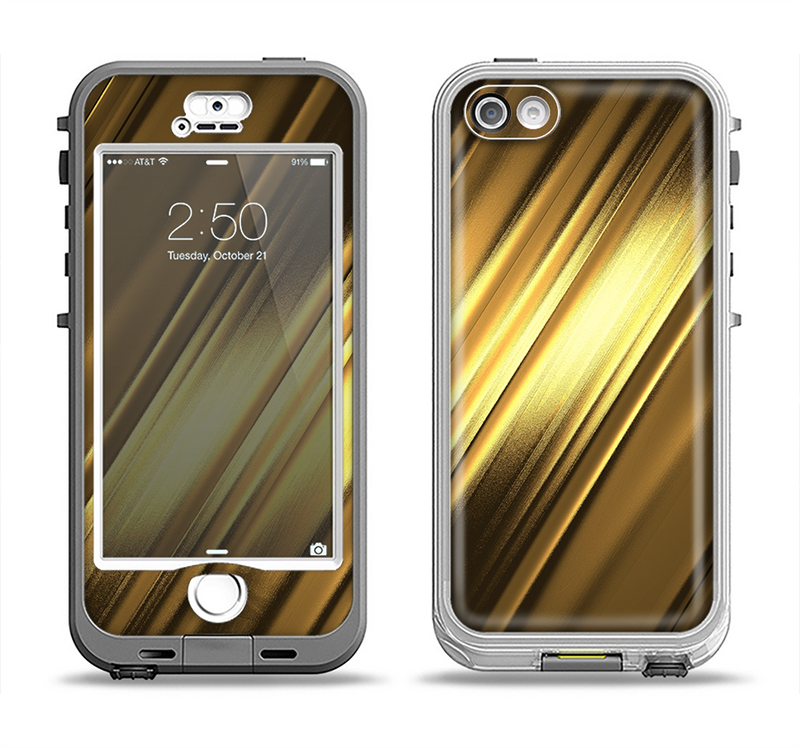 The Shimmering Slanted Gold Texture Apple iPhone 5-5s LifeProof Nuud Case Skin Set