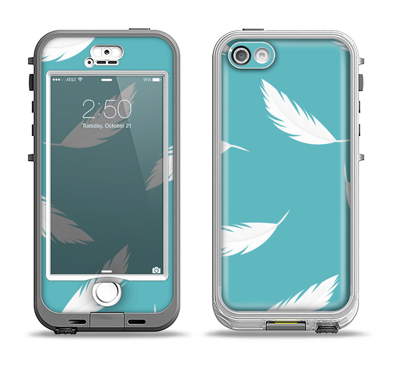 The Simple White Feathered Blue Apple iPhone 5-5s LifeProof Nuud Case Skin Set