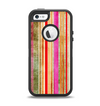 The Smudged Pink Painted Stripes Pattern Apple iPhone 5-5s Otterbox Defender Case Skin Set
