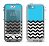 The Solid Blue with Black & White Chevron Pattern Apple iPhone 5-5s LifeProof Nuud Case Skin Set
