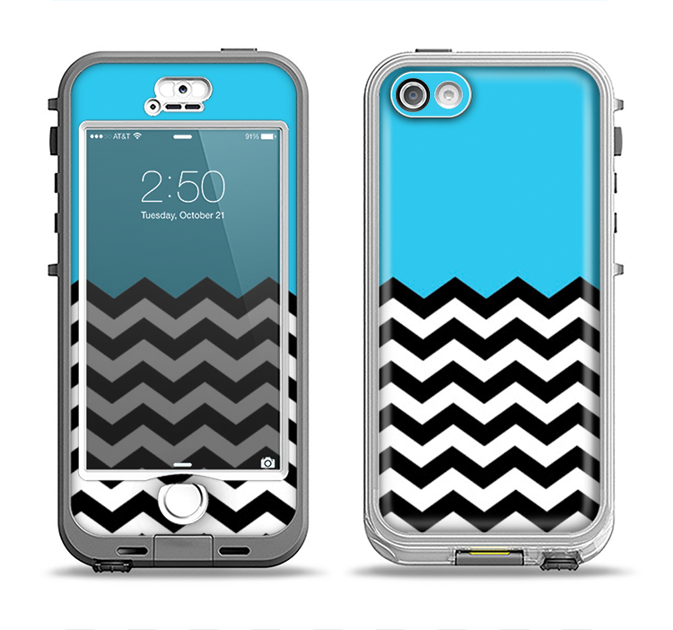 info for 960c1 b2aad The Solid Blue with Black & White Chevron Pattern Apple iPhone 5-5s  LifeProof Nuud Case Skin Set