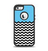 The Solid Blue with Black & White Chevron Pattern Apple iPhone 5-5s Otterbox Defender Case Skin Set