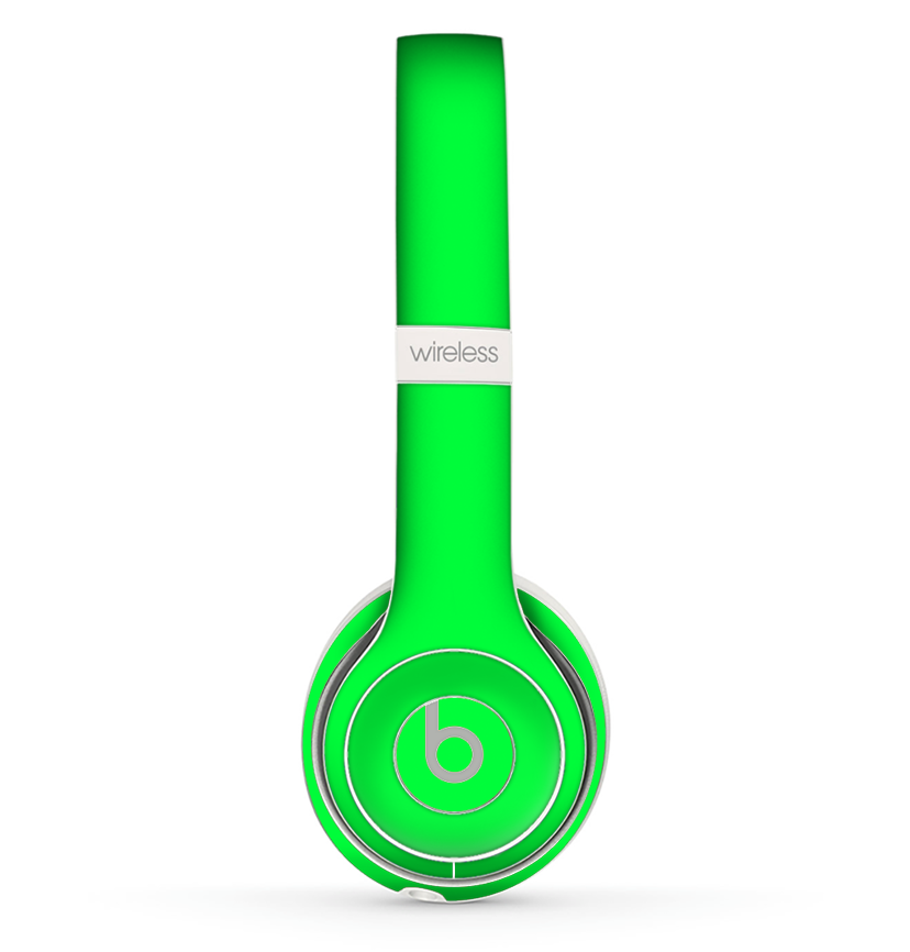 The Solid Lime Green V2 Skin Set For The Beats By Dre Solo 2