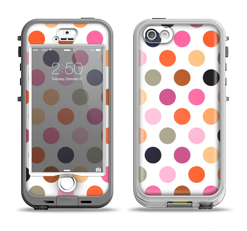 The Solid Pink & Blue Colored Polka Dots Apple iPhone 5-5s LifeProof Nuud Case Skin Set