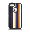The Solid Pink & Blue Colored Stripes Apple iPhone 5-5s Otterbox Defender Case Skin Set