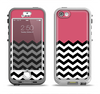 The Solid Pink with Black & White Chevron Pattern Apple iPhone 5-5s LifeProof Nuud Case Skin Set