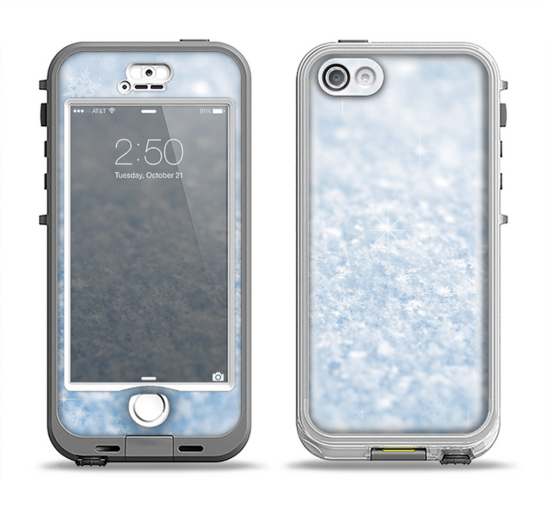 The Sparkly Snow Texture Apple iPhone 5-5s LifeProof Nuud Case Skin Set