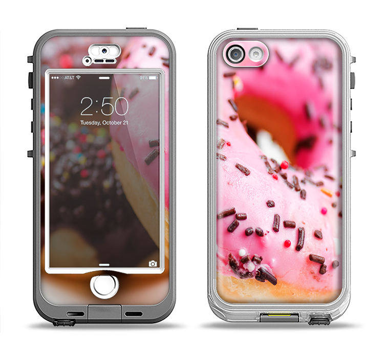 The Sprinkled Donuts Apple iPhone 5-5s LifeProof Nuud Case Skin Set