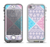The Squared Pink & Blue Textile Patterns Apple iPhone 5-5s LifeProof Nuud Case Skin Set
