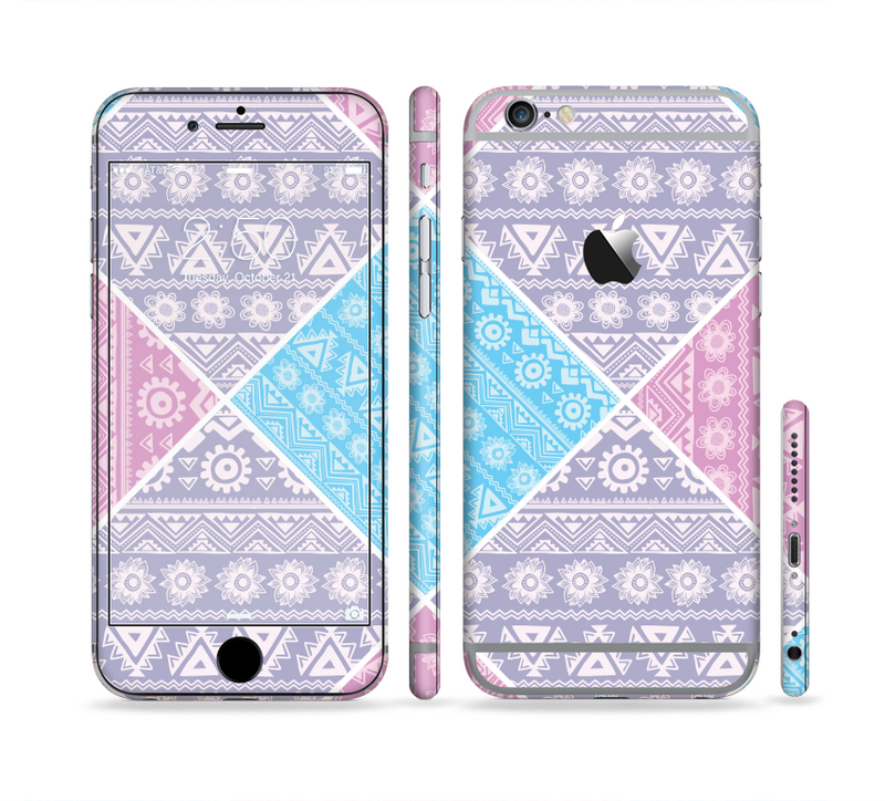 The Squared Pink & Blue Textile Patterns Sectioned Skin Series for the Apple iPhone 6/6s Plus