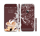 The Steaming Vector Coffee Floral Sectioned Skin Series for the Apple iPhone 6/6s Plus