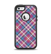 The Striped Vintage Pink & Blue Plaid Apple iPhone 5-5s Otterbox Defender Case Skin Set