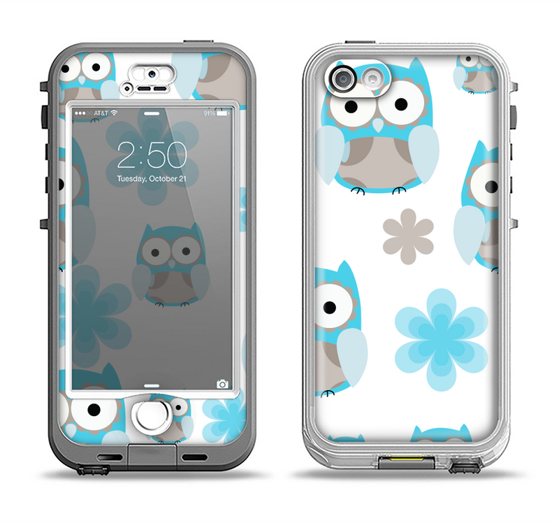 The Subtle Blue Cartoon Owls Apple iPhone 5-5s LifeProof Nuud Case Skin Set