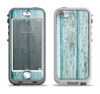The Subtle Blue Vertical Aged Wood Apple iPhone 5-5s LifeProof Nuud Case Skin Set