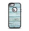 The Subtle Blue Vertical Aged Wood Apple iPhone 5-5s Otterbox Defender Case Skin Set