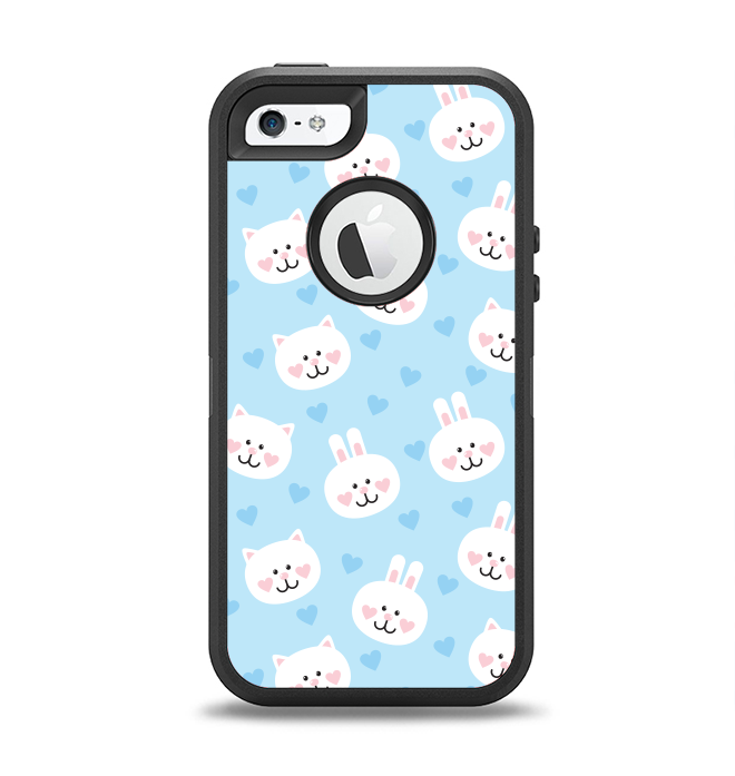 The Subtle Blue & White Faced Cats Apple iPhone 5-5s Otterbox Defender Case Skin Set