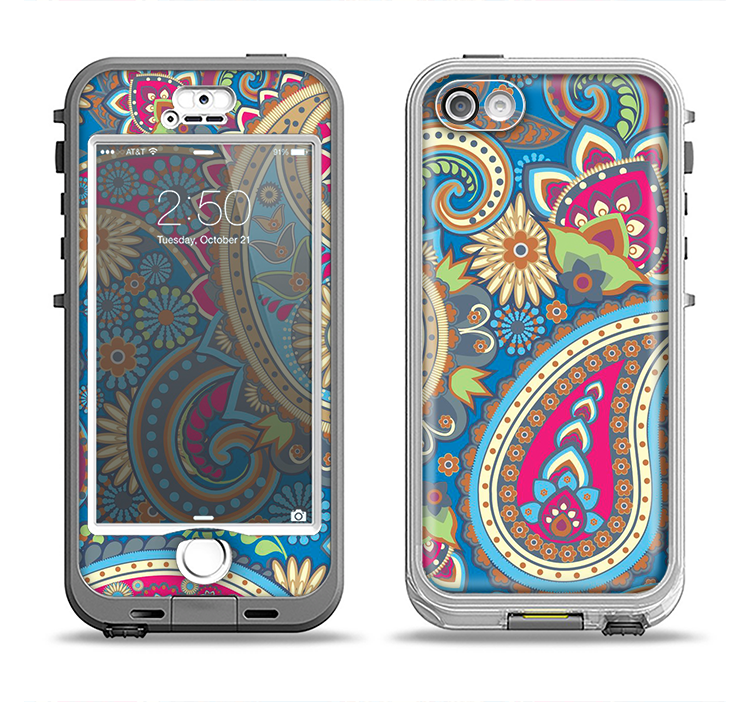 The Subtle Blue & Yellow Paisley Pattern Apple iPhone 5-5s LifeProof Nuud Case Skin Set