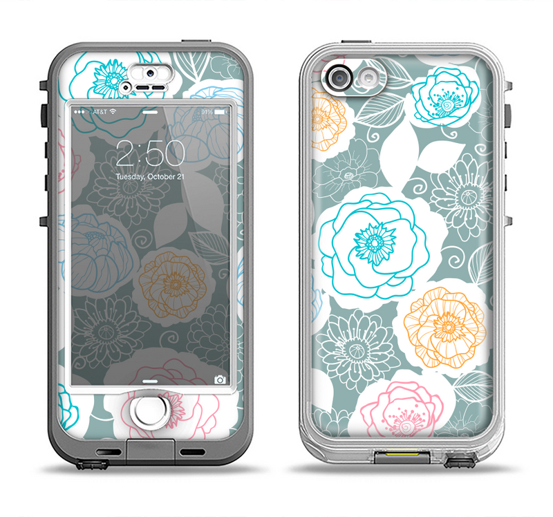 The Subtle Gray & White Floral Illustration Apple iPhone 5-5s LifeProof Nuud Case Skin Set
