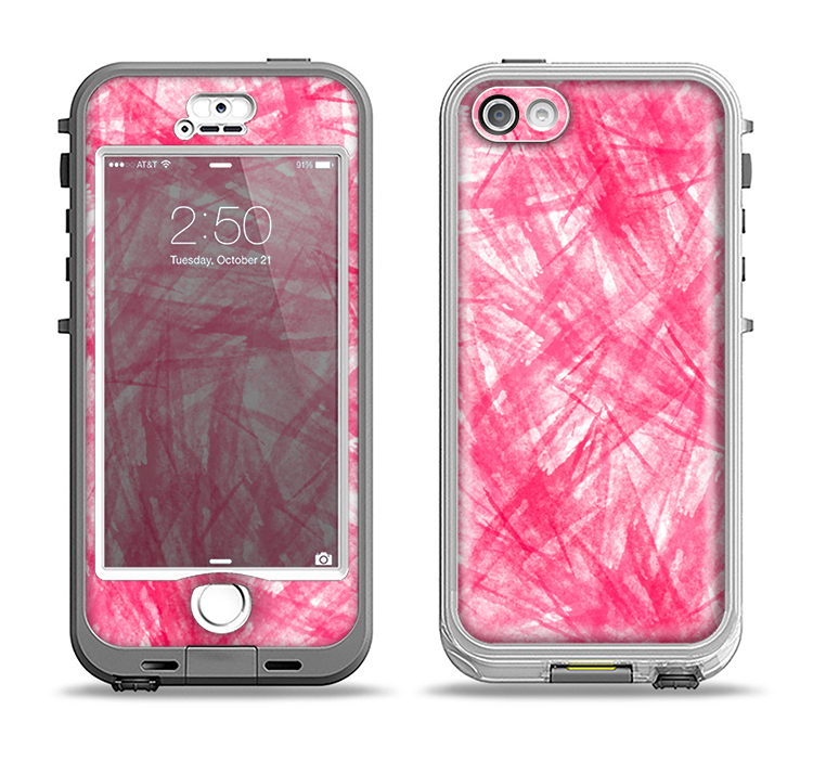 The Subtle Pink Watercolor Strokes Apple iPhone 5-5s LifeProof Nuud Case Skin Set