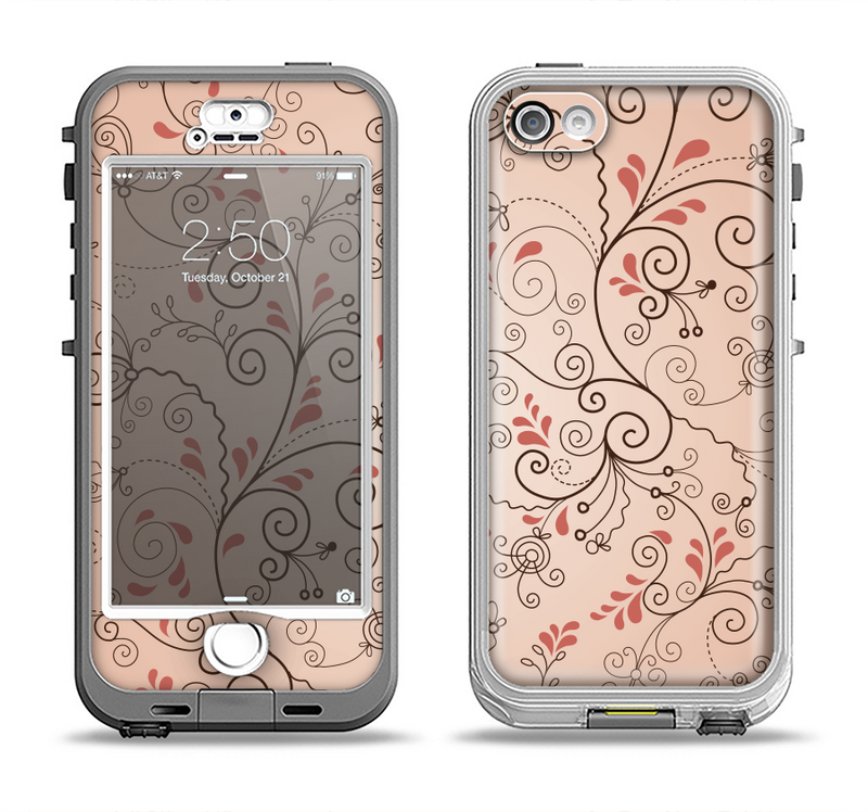 The Subtle Pinks Laced Design Apple iPhone 5-5s LifeProof Nuud Case Skin Set