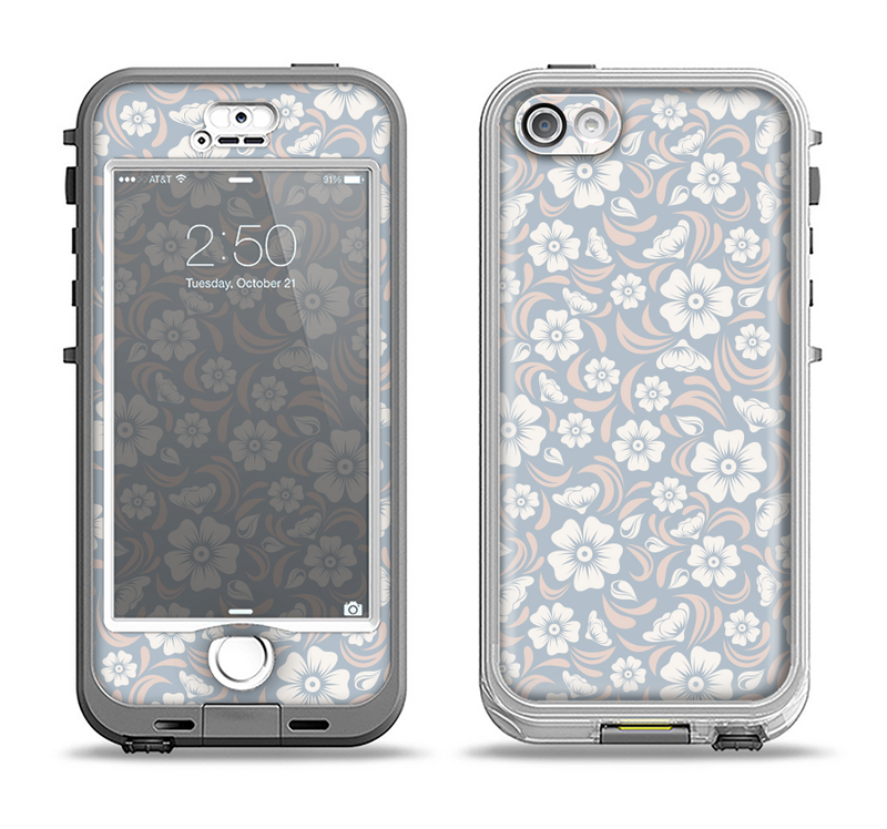 The Subtle White and Blue Floral Laced V32 Apple iPhone 5-5s LifeProof Nuud Case Skin Set