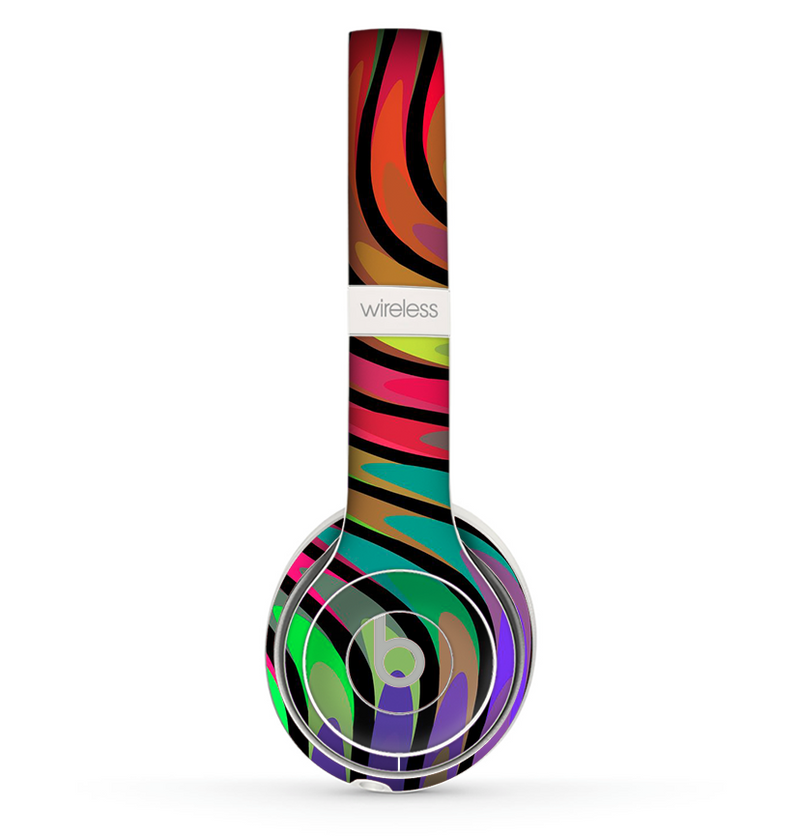 The Swirled Neon Abstract Lines Skin Set for the Beats by Dre Solo 2 Wireless Headphones